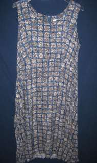 Vintage 90s Blue Print Sleeveless Long Maxi Dress Plus Size 22W