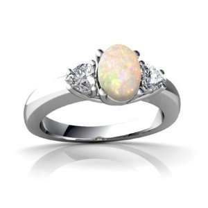14K White Gold Oval Genuine Opal Ring Size 7 Jewelry