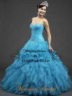 Ruffle Blue Wedding Party dress Prom Ball Gown  SZ