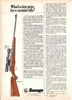 Savage Model 340 V Varmint Rifle 1967 Print Ad