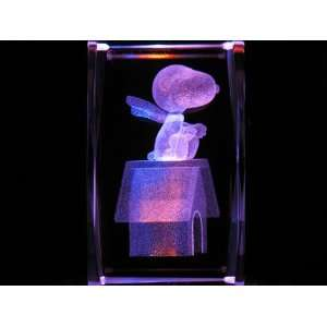 Peanuts Snoopy Red Baron 3D Laser Etched Crystal