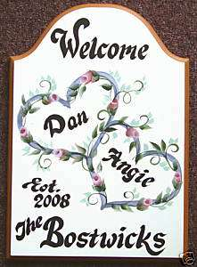 Interlocking HEARTS Welcome/Wedding Sign PERSONALIZED