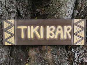 TIKI BAR Wood Sign 24 Tribal Wood Hand Carved Decor