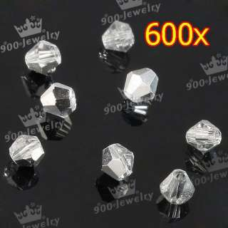 600pcs Whole Sale Faceted Bicone Silvery Crystal Glass 3mm Loose Bead