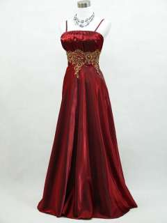 Cherlone Plus Size Satin Burgundy Prom Ball Gown Wedding/Evening Dress