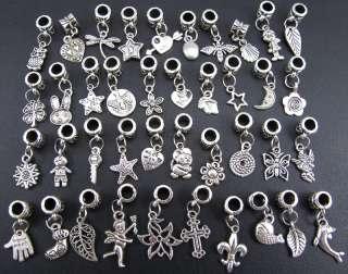 Wholesale 40p Mix Tibetan Silver Pendants Dangle Beads Fit Charm