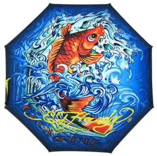 Ed Hardy Koi Fish 30 Inch Stick Umbrella Tattoo
