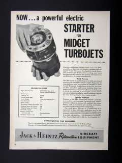 Jack & Heintz Model D62 Turbojet Jet Engine Starter 1955 print Ad