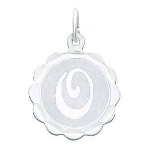 14K White Gold Engraveable Initial O Disc Charm: Jewelry