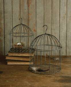 Set/2 Rustic Chic Wire Bird Cages Hanging Lanterns Candle Holders
