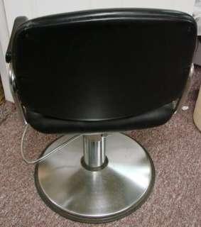 Salon Chair Black Vinyl Black Chrome Swivel Base Adjustable Barber