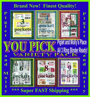 Coupon Binder Sleeve Page Holder Organizer Variety Pack 3C 4 4C 6 8 9