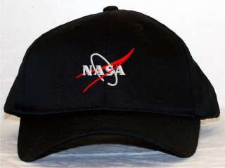 Nasa Vector Wing Logo Black Embroidered Baseball Cap Hat