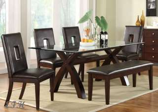 NEW 6PC LANDIN GLASS CHERRY WOOD DINING TABLE SET BENCH