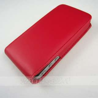 Red Flip Leather Case Pouch Magnet Cover Skin for Apple iPhone 4 4S 4G