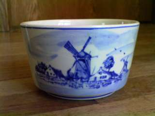 Blue Handgemaakt Bowl Landscape Windmills Signed A.G. Holland