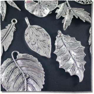 50g Tibetan Silver Leaves Charm Pendant Mix