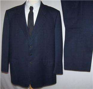 50R Belvest SUPER 100s WORSTED WOOL NAVY BLUE SHADOWPLAID 2 Business