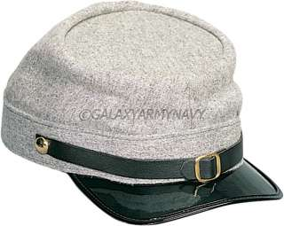 Grey Confederate Army Civil War Hat Adjustable Kepi Cap