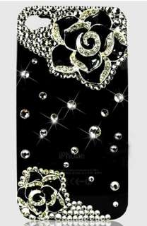 1PCS luxury crystal bling diamond hard back case for iphone 4/4s Black