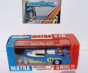 MATRA 670 #14 LE MANS 1972 AVEC BOITE BOX 1/43 SOLIDO