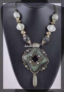 wholesale 10pcs chunky rhinestone vintage tone necklace