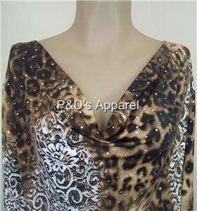Brittany Black Womens Plus Size Clothing 3X Brown Leopard Print Shirt