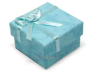 24 Wholesale Lot Aqua Paper Ring Earring Gift Box Case
