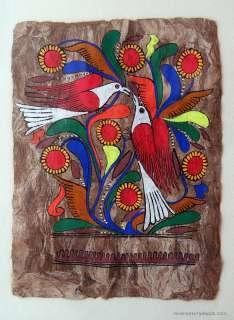 Beautiful Vintage Mexican Folk Art Bird Painting