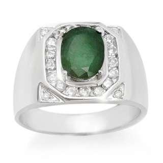 Mens 2.60ctw Diamond & Emerald Ring 14K White Gold