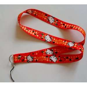 Red Checker Hello Kitty with Apple Phone Key Lanyard