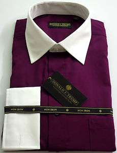 DONALD TRUMP Dress Shirt Solid White Collar/French Cuff Aubergine