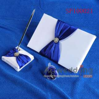 Satin Watermelon/Sky Blue/White/Royal Blue/Ivory Wedding Guest Book