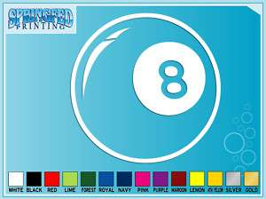 BALL Pool Ball cut vinyl decal Billards car sticker