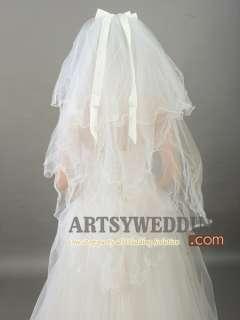 4T White/Ivory Pearl Ribbon Bow Wedding Bridal Veil Headpieces
