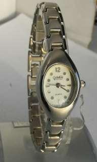 Giovani womens silver tone white dial quartz watch