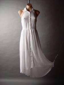 White Sleeveless Oxford Collar Pleated Chiffon Long Tail Hem Shirt