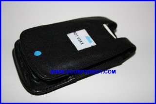 High Grade Leather Flip Case Cover for Motorola V3XX Black With Metal