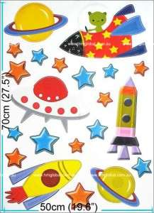 SPACE SHIP & STARS, PLANETS Kids Wall sticker for Kids room & Nursery