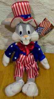 Looney Tunes PATRIOTIC BUGS BUNNY UNCLE SAM Plush NEW