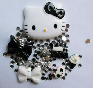 Black Hello Kitty Bling Deco Resin Flatback DIY