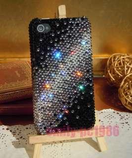 Handmade Black Bling Swarovski Crystal Case Cover For iPhone 4 4G 4S