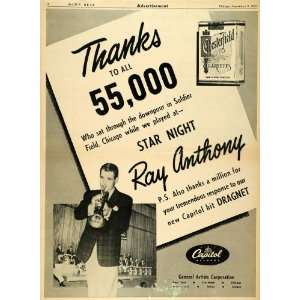 Cigarette Ray Anthony Show   Original Print Ad