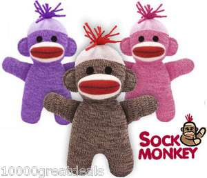 Sock Monkey Red Heel Doll 7.25 Stuffed Plush Pink Purple Brown Animal