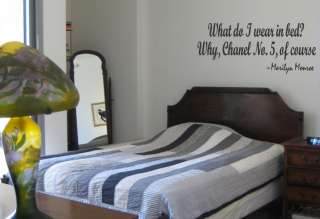 WHAT DO I WEAR IN BED? Wall Quote Decal Marilyn Monroe Bedroom Decor