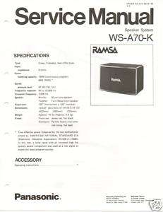 Original Service Manual Panasonic WS A70 K Speaker