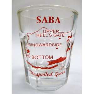Saba Caribbean Vintage Map Outline Shot Glass Kitchen & Dining