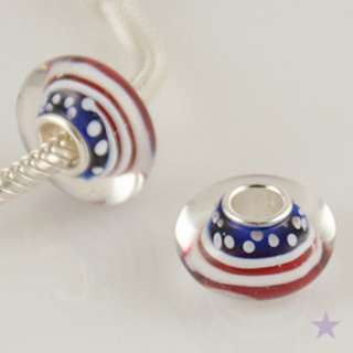 USA Flag MURANO GLASS 925 Sterling Silver EUROPEAN BEAD Charm