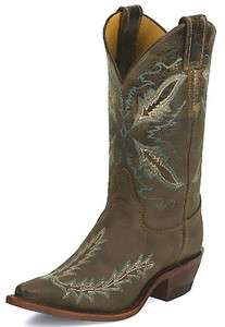 Womens Justin Western Boot Bent Rail 11 Distressed Chocolate Brown