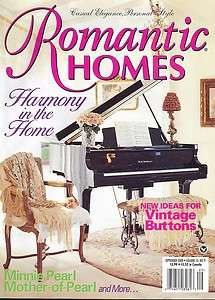 Romantic Homes Magazine Vintage Buttons Minnie Pearl Mother of Pearl